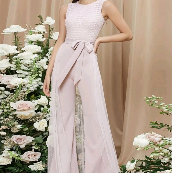 Shein Lace Bodice Belted Mesh Overlay Jumpsuit